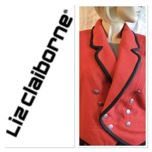 LIZ CLAIBORNE RED Double-breasted Cropped Blazer